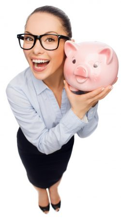 business, banking, investment and office concept - laughing businesswoman in eyeglasses with piggy bank